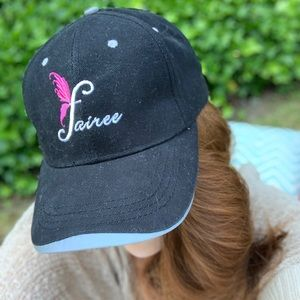 Fairee Black & Pink Embroidered baseball Cap